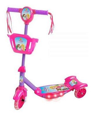 Patinete Infantil Musical Princesa Luzes E Cestinha 3 Rodas
