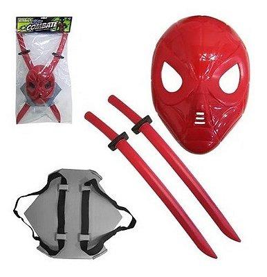 Kit Combate Ninja 2 Espadas Com Suporte De Costa + Mascara