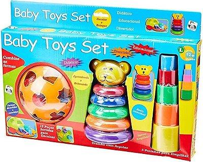 Kit De Brinquedos Baby Toys Set - Educativo 3 Em 1