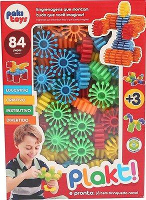 Brinquedo Montar Plakt Engrenagens Educativo Criativo 84 Pcs