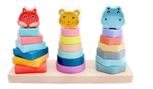 Jogo Educativo Pirâmide De Encaixe 22 Peças - Candy Color