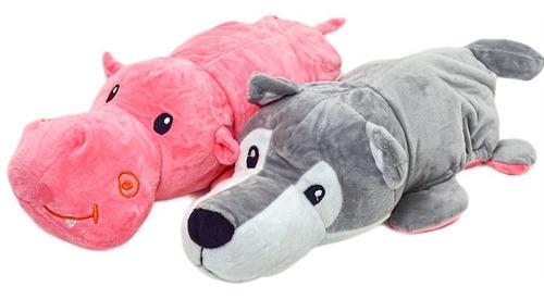 Lobo E Hipopotamo Reversível Urso De Pelucia 2 Em 1 37 Cm