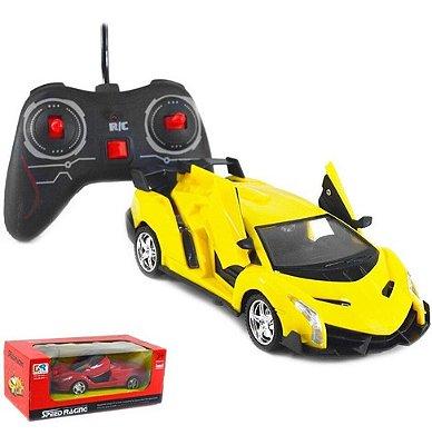 Carro Carrinho De Controle Remoto Ferrari Abre Porta Com Led