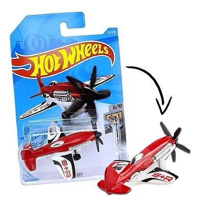 Carrinho Hot Wheels Avião Mad Propz Vermelho E Branco