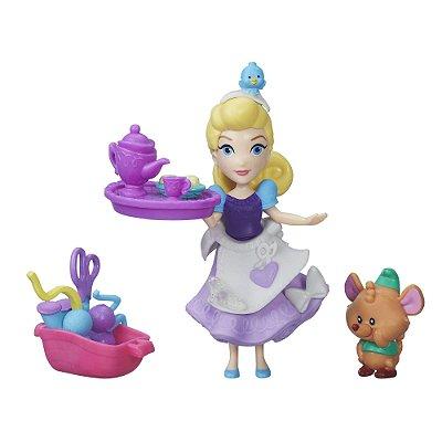 Mini Boneca Princesa Cinderela Disney Little Kingdom - Pequeno Reino Magico Com Pet