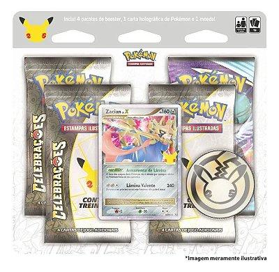 Blister Quádruplo Celebrações Zacian Lv. X Pokemon Copag + Moeda