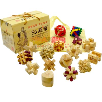 Kit Dezesseis Desafios Puzzle Kong Ming Lock Quebra Cabeça Madeira