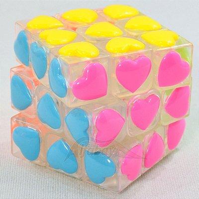 YongJun 3x3x3 Peças Coração Heart Stickerless Transparente