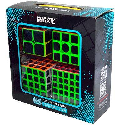 Box Moyu MeiLong 2x2x2 + 3x3x3 +  4x4x4 + 5x5x5 Carbon