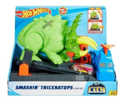 Pista Hot Wheels City Track Ataque De Triceratops Dinossauro