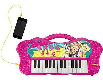 Teclado Infantil Glamoroso Da Barbie Com Função Mp3 Player