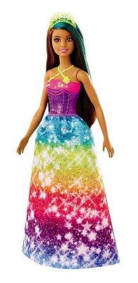 Barbie Dreamtopia Princesa Vestido Estrelado Cabelo colorido  Morena E Verde