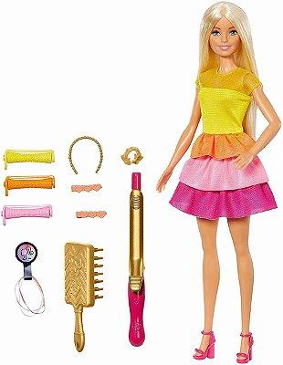 Boneca Barbie - Brincando Com Cabelo Modeladora De Cachos - Loira Com Acessórios