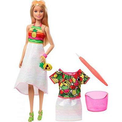 Barbie Crayola - Boneca Frutas Surpresa Com Caneta Magica -Vestido Troca De cor - Vestido Magico