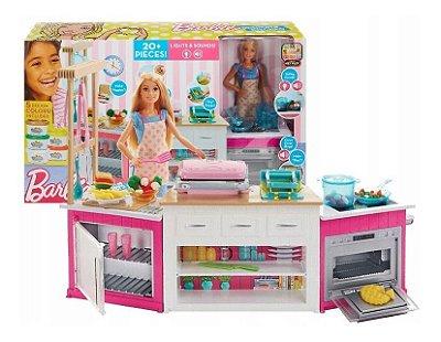 Barbie Cozinha De Luxo Casa Barbie 20 Pç Luz Som + Massinha E Moldes