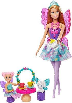 Barbie Dreamtopia Fadas Festa Do Chá + Mini Princesa Fada + Acessórios