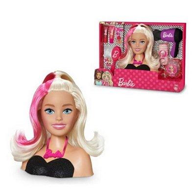 Boneca Barbie Busto Penteados Loira Cabelo Colorido Com Acessórios
