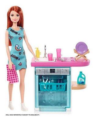 Barbie Móveis E Acessórios Temáticos - Lava Louça De Luxo