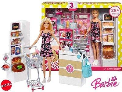 Boneca Barbie No Supermercado De Luxo Com Carrinho De Compra