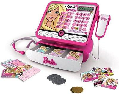 Caixa Registradora Luxo Barbie Com Sons Cartão E Moedas