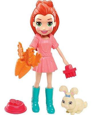 Mini Boneca Polly Pocket Lila E Coelhinho Com Acessórios - Ruiva