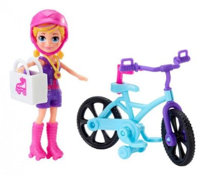 Mini Boneca Polly Pocket Aventura Na Bicicleta + Acessórios + Boneca Loira