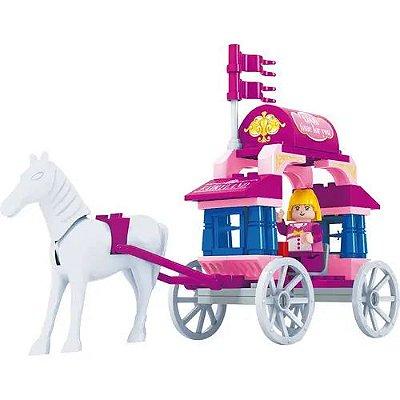 Blocos De Montar Reino Cor De Rosa Carruagem Da Princesa 57p