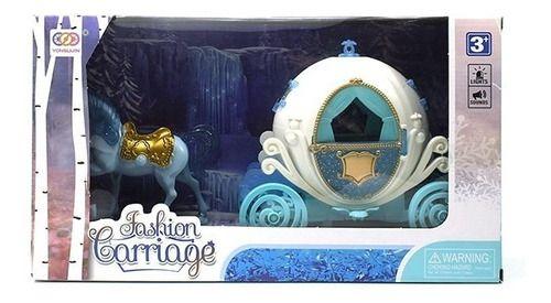 Carruagem Magica Das Princesas Com Cavalo Azul Turquesa