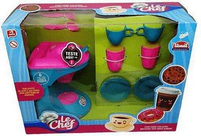 Kit Cafeteira Le Chef Rosa Com Azul Com Luz Acessórios