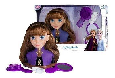 Boneca Anna Frozen 2 Disney Faça Penteados Busto