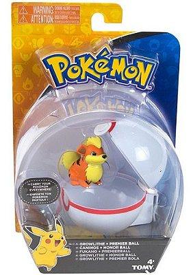 Boneco Pokémon Growlithe + Pokebola