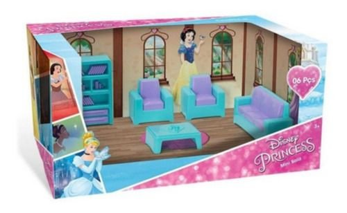 Casinha Boneca Mini Sala Princesas Disney 06 Pcs