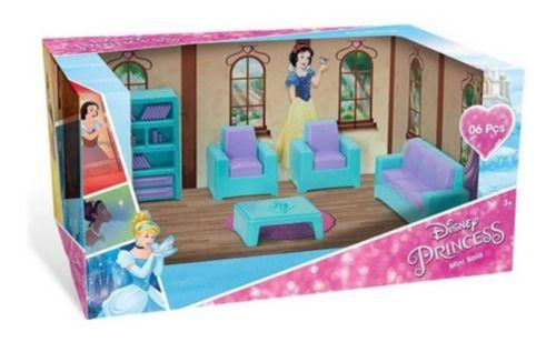 Casinha Boneca Mini Sala Princesas Disney 06 Pcs
