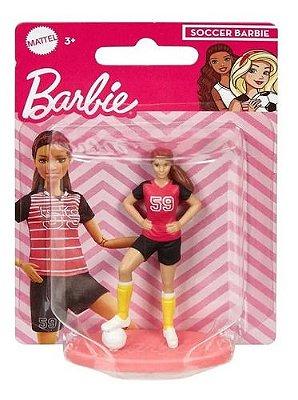 Bonequinha Barbie Mini Jogadora Colecionável 7 Cm