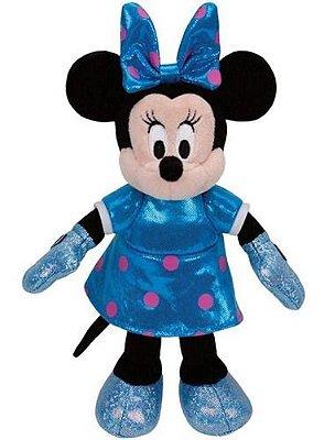 Pelúcia Minnie Mouse Vestido Coloridos Ty Beanie 15cm