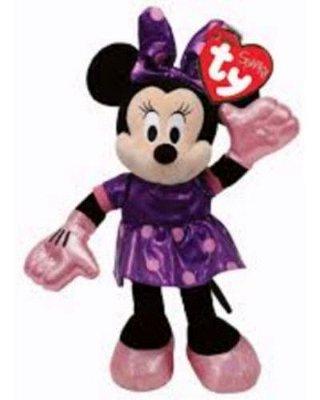 Pelúcia Minnie Mouse Vestido Lilás Ty Beanie 15cm