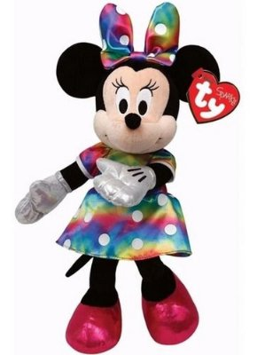 Pelúcia Minnie Mouse Vestido Rainbow Ty Beanie 15cm