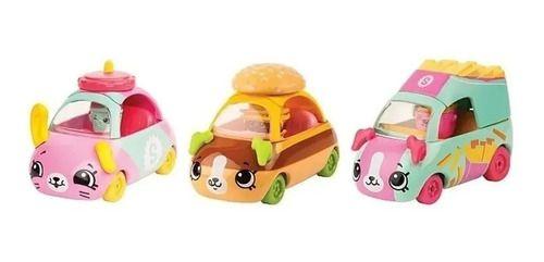 Kit 3 Carrinhos Shopkins Cutie Cars Coleção Hamburgueria