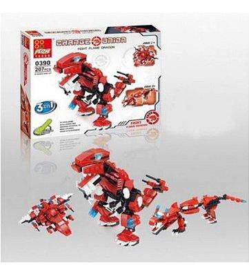 Blocos De Montar Dinossauro Dragão Vermelho 3 Em 1