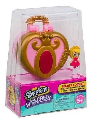 Micro Shopkins Secrets Coração Dourado Mini Pingente