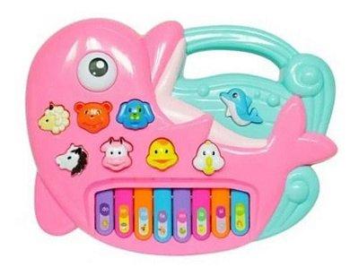 Piano Musica Com Animal Golfinho Rosa Com Som Luz
