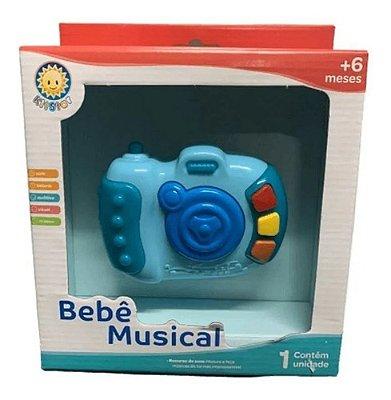 Chocalho Brinquedo Mordedor Divertido Musical Camera Azul