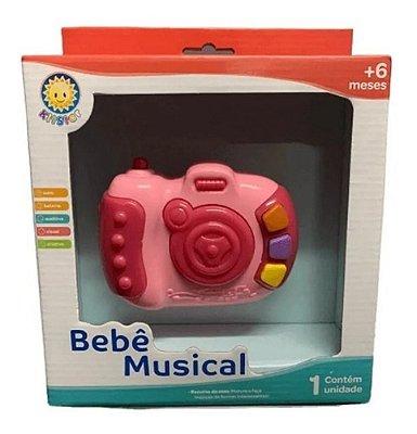 Chocalho Brinquedo Mordedor Divertido Musical Camera Rosa