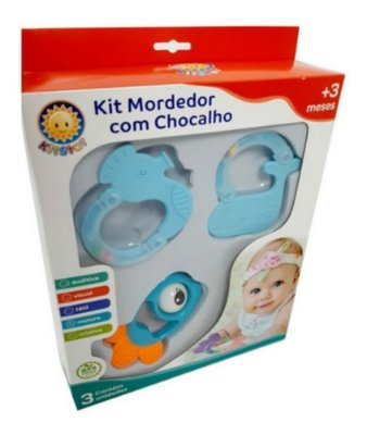 Kit Mordedor Com Chocalho Azul Em Forma De Baleia Kitstar