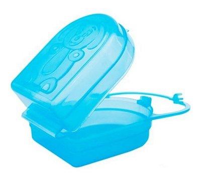 Porta Chupetas E Bico Mamadeira Pepeta Kit Com 03 Azul