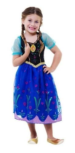 Fantasia Anna Frozen Infantil Luxo Disney Com Som E Luz