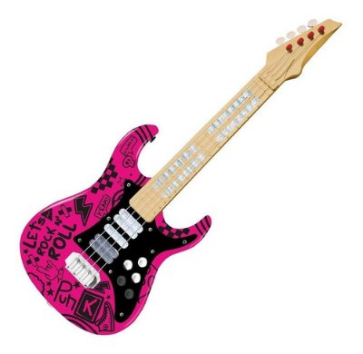 Guitarra Infantil Elétrica Show Com Luz - E Som - Rosa Roll