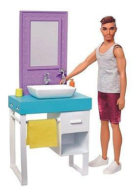 Barbie - Boneco Ken Móveis De Banheiro Faz Barba De Verdade