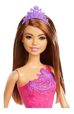Barbie Fantasia Princesa Básica Vestido Rosa Com Roxo Morena