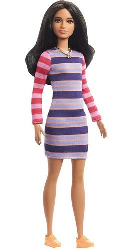 Barbie Fashionistas 147 Morena Cabelo Longo Vestido Listrado